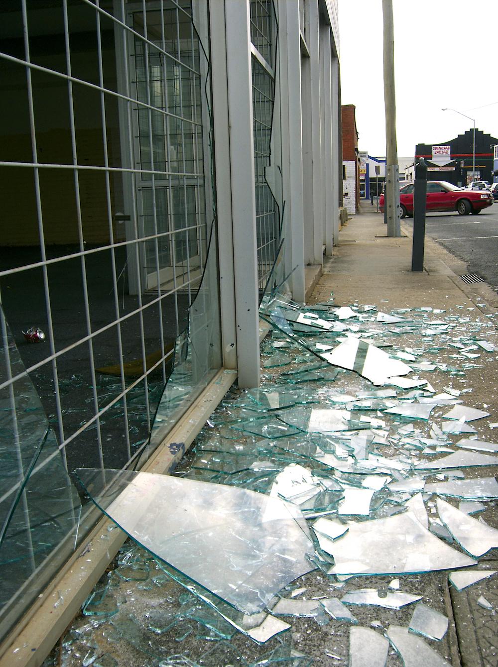 Broken shop window Film in San Diego
